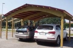 Box auto in legno a due falde con arco lamellare