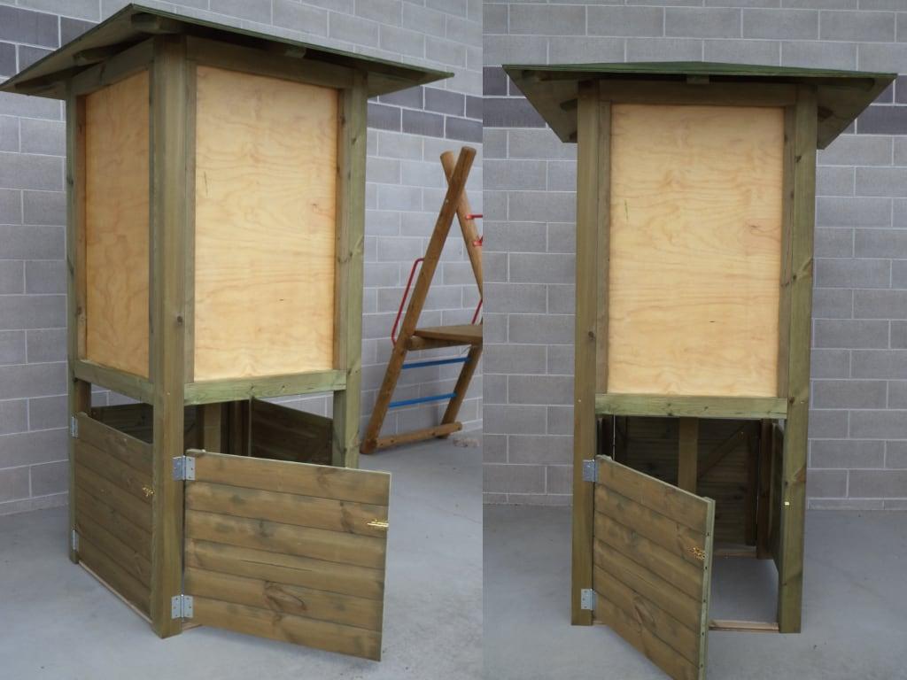 Totem in legno con cestino